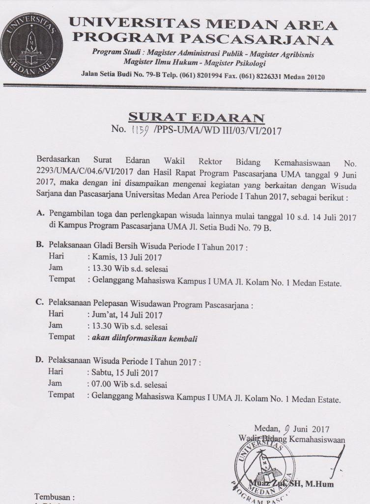 Surat Edaran Pemberitahuan Jadwal Wisuda Periode I 2017